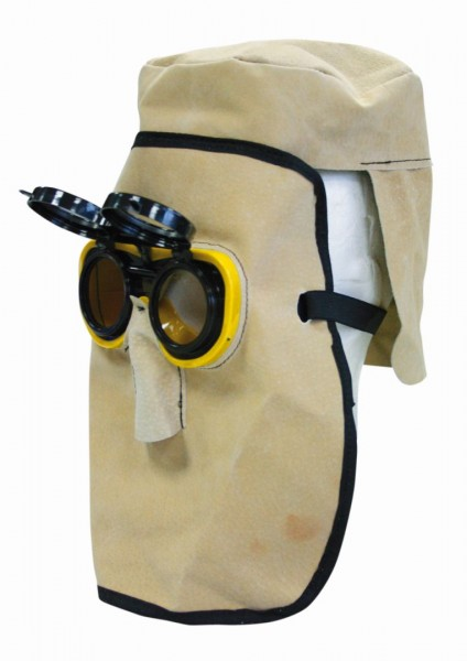 Schweißermaske, Schweißer-Ledermaske mit Schutzbrille
