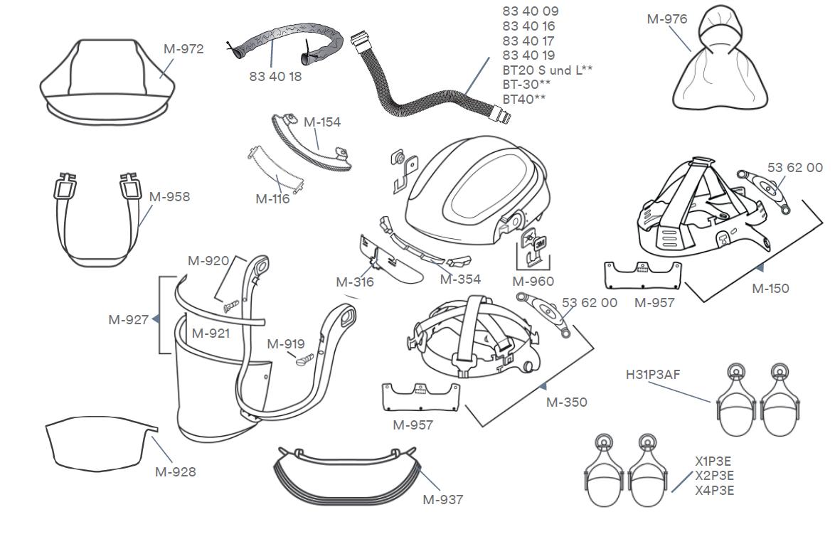 Ersatzteile-3M-Versflo-Klarsichtvisiere